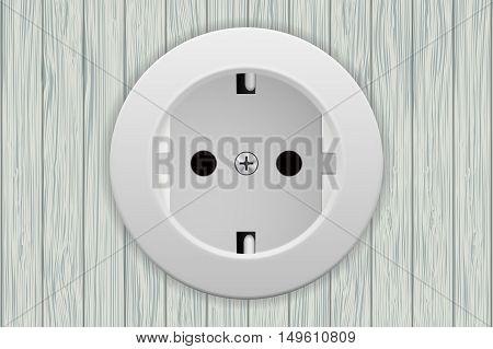 Socket. White european socket on wooden wall. Vector illustration