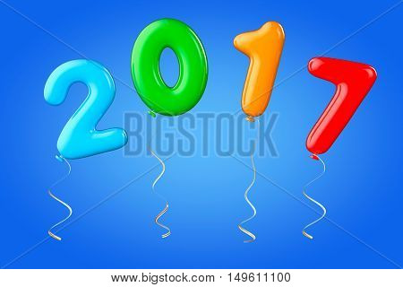 Multicolour Balloons as 2017 New Year Sign on a blue background. 3d Rendering