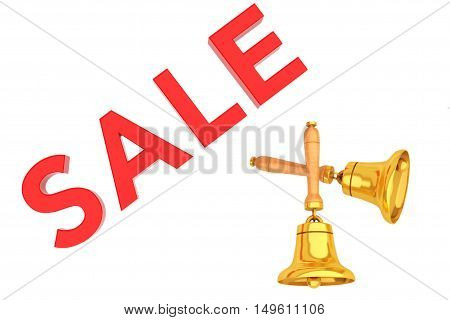 Sale Sign with Golden Bells on a white background. 3d Rendering