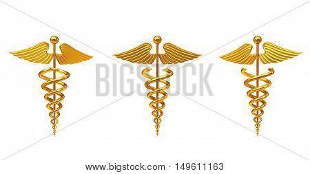 Gold Medical Caduceus Symbol on a white background. 3d Rendering