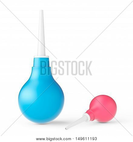 Multicolour Rubber Enemas on a white background. 3d Rendering