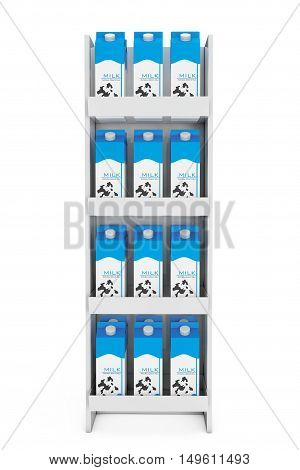 Milk Carton Boxes in Store Shelf on a white background. 3d Rendering