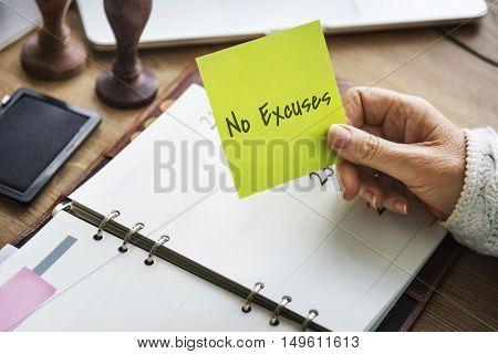 No Excuses Money Low Concept