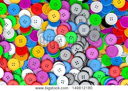 Sewing Buttons background. Multicolor Sewing Buttons extreme closeup. 3d Rendering