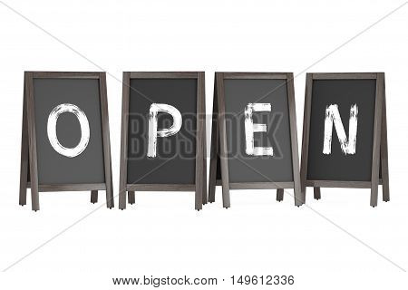 Wooden Menu Blackboard Outdoor Displays with Open Sign on a white background. 3d Rendering