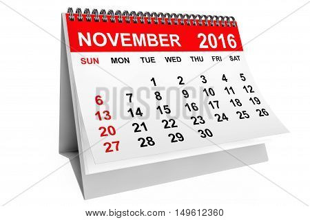 2016 year calendar. November calendar on a white background. 3d rendering