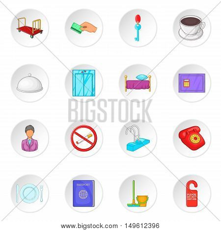 Hotel icons set in cartoon style. Hotel accommodation services set collection vector illustration