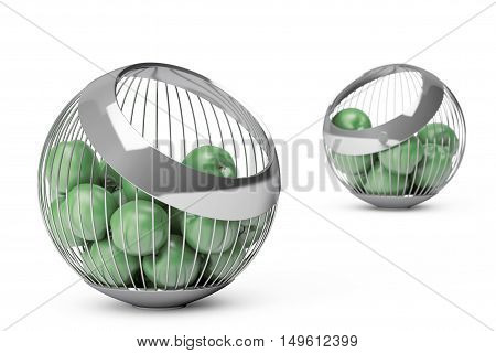Green Apples in the Chrome Steel Wire Vase on a white background. 3d Rendering
