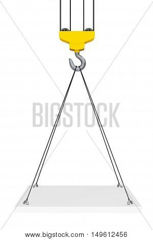 Crane Hook Lifts the Platform on a white background. 3d Rendering