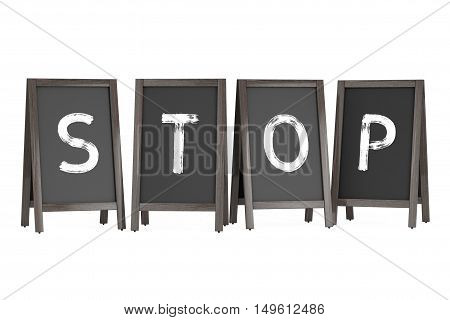 Wooden Menu Blackboard Outdoor Displays with Stop Sign on a white background. 3d Rendering