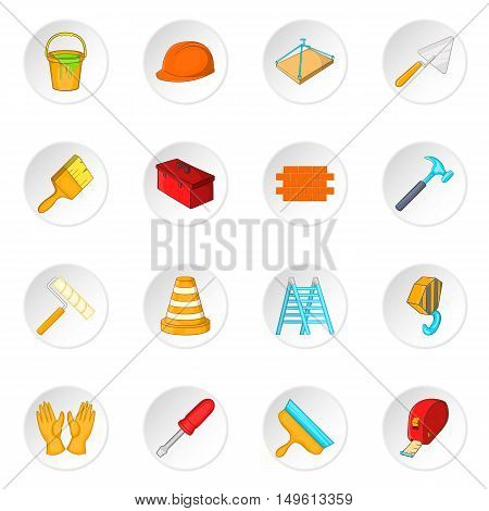 Building tools icons set in cartoon style. Construction elements set collection vector illustration