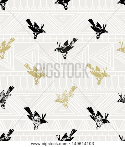 Vector seamless pattern. linocut style with birds and geometrical ornament. Vintage background.
