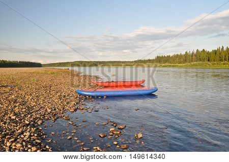 Water trip on the river Schugor in the Komi Republic. National Park Yugid-VA in the Northern Urals.