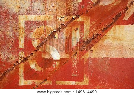 old rusty painted metal wall with numbers background