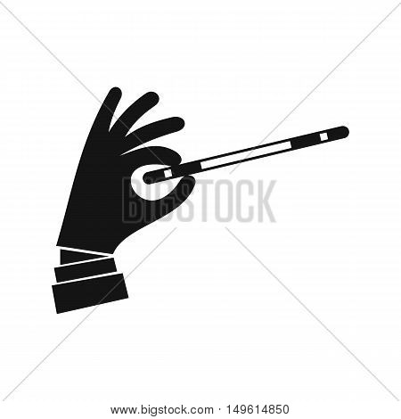 Magician hand with a magic wand icon in simple style on a white background vector illustration