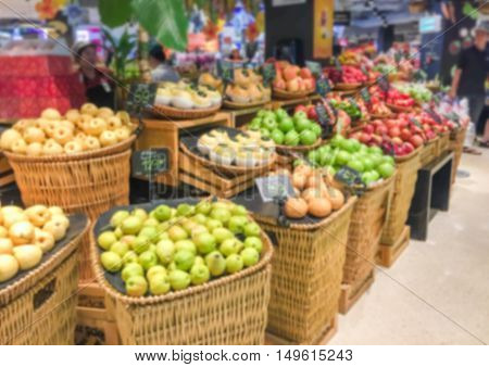 Blurred fruit market. Blurred fruit market. Blurred fruit market.