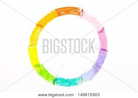 Circle Drawn With Colorful Pastel Chalks, On White Background