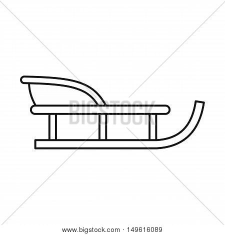Sled icon in outline style on a white background vector illustration