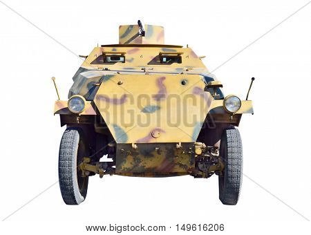 German military vehicle from second world war. Isolated with path on white.