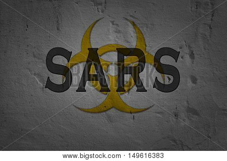 Word Sars isolated on dark background with biohazard sign.