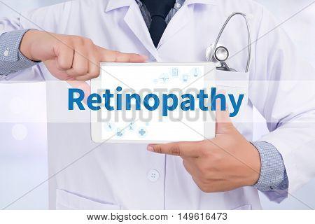 Retinopathy Doctor holding digital tablet doctor work hard top view