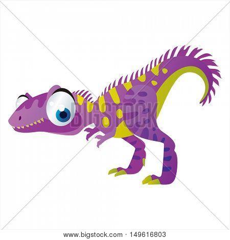 cute vector comic cartoon animal. Cool colorful dinosaur Allosaurus
