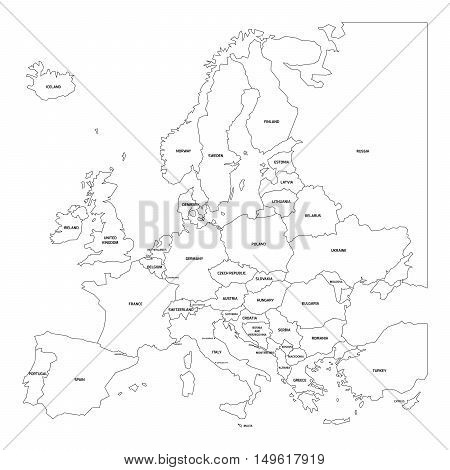 Vector outline map of Europe. Simplified vector map made of black state contous on white background with black Europe countries labels.
