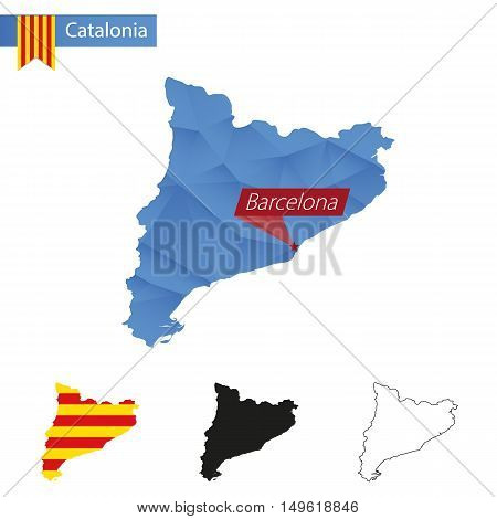 Catalonia Blue Low Poly Map With Capital Barcelona.