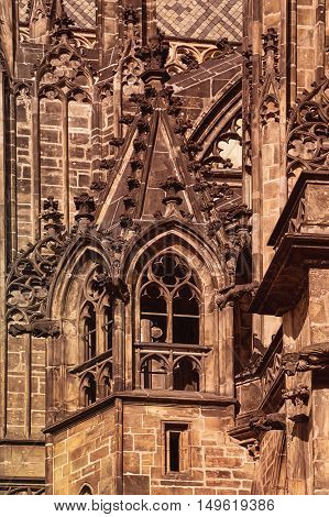 Detail on Saint Vitus Cathedral in Prague Castle Hradcany Retro style image.