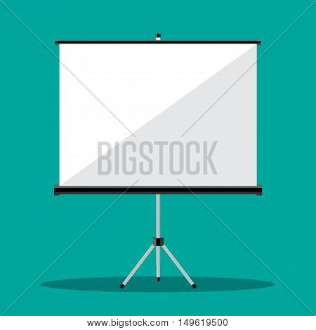 Empty Projection screen, Presentation board, illustration in flat style on green background