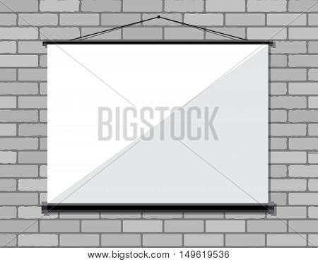 Projector screen on brick wall, Vector illustration in flat style