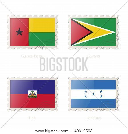 Postage Stamp With The Image Of Guinea-bissau, Guyana, Haiti, Honduras Flag.