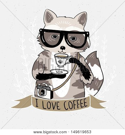 Hipster raccoon vector illustration. Raccoon with coffee and glasses. Hipster animals.