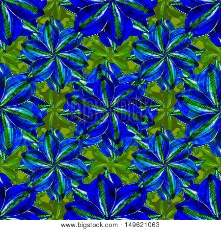 Digital photo collage and manipulation technique artificial nature floral collage motif seamless pattern mosaic in vibrant blue and green colors.