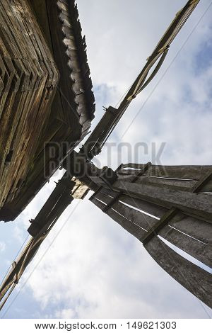 Sails of the old wooden windmill. Traditional Ukrainian architecture