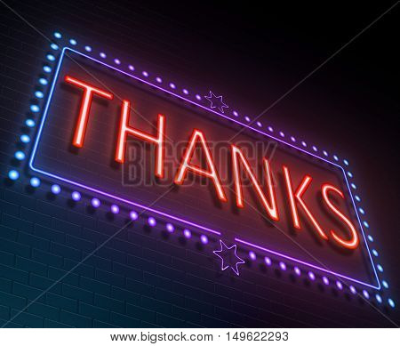 Illustration depicting an illuminated neon sign with a thanks concept.