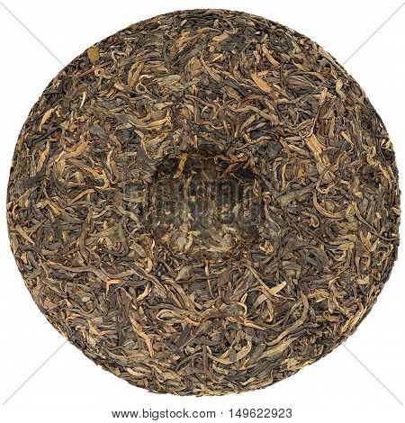Chinese raw puerh tea with stone impress overhead view isolated