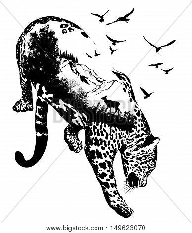 Vector Double exposure Hand drawn leopard for your design wildlife concept