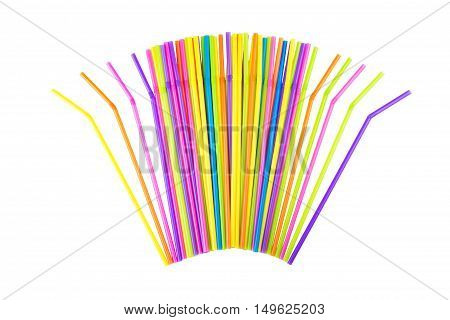 Colorful drinking straws on a white background.
