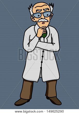 Scientist old man disgruntled vector illustration comic
