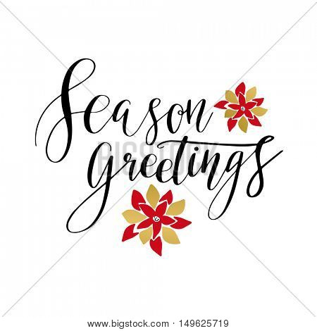 Season greetings card with hand drawn lettering and christmas poinsettia flowers .Vector illustration for christmas and New year holidays