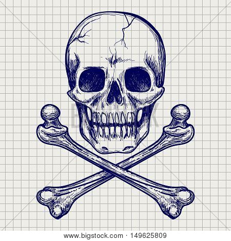 Ball pen sketch of skull and cross of bones on notebook page. Vector illustration