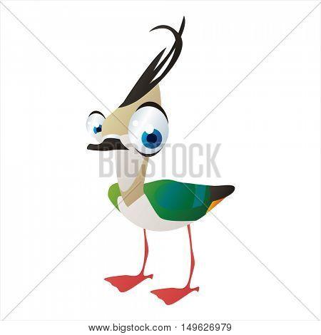 cute vector comic cartoon Bird. Cool colorful Lapwing