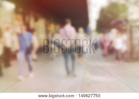 City commuters. High blurred image of workers going back home after work. Unrecognizable faces.