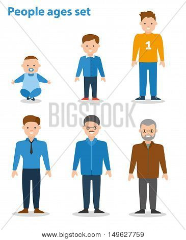 Generation Of Men From Young Infant To Old Senior Age. Male aging - baby, child, teenager, young, adult, old. Flat illustration