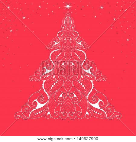 Illustration of a Christmas tree on a red background with stars. Year of the snake
