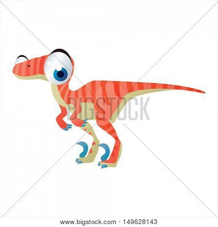 cute vector comic cartoon animal. Cool colorful Raptor Dinosaur