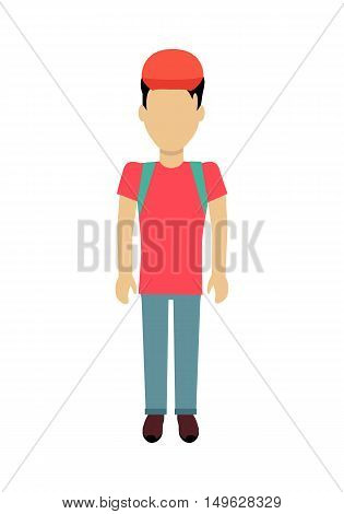 Male character without face with backpack vector in flat design. Man template personage illustration for travel concepts, mobile app pictogram, logos, infographic. Isolated on white background.
