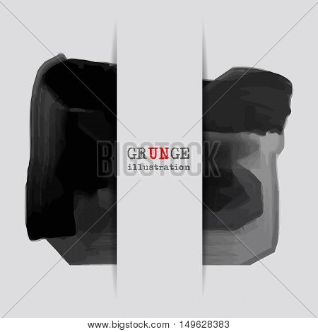 Black abstract design. Ink paint on white background. Monochrome element isolated on white. Grunge banner paints. Simple composition. Liquid ink. Background for banner card posterweb design.