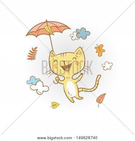 Cute cartoon cat under an umbrella. Flying kitten. Autumn season. Windy weather and falling leaves. Funny animal. Vector image. Children's illustration.